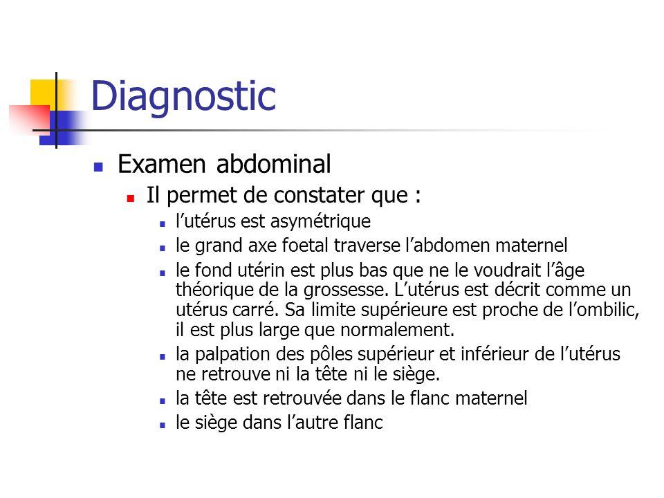 Diagnostic Examen abdominal Il permet de constater que : lutérus est asymétrique le grand axe foetal traverse labdomen maternel le fond utérin est plus bas que ne le voudrait lâge théorique de la grossesse.