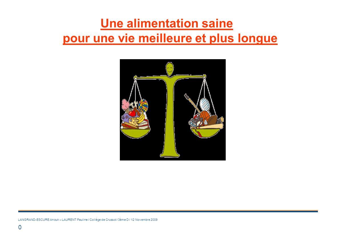 0 LANGRAND-ESCURE Anouk – LAURENT Pauline / Collège de Crussol / 3ème D / 12 Novembre 2009 Une alimentation saine pour une vie meilleure et plus longu