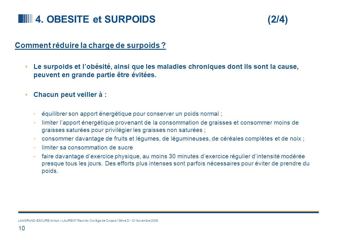 10 LANGRAND-ESCURE Anouk – LAURENT Pauline / Collège de Crussol / 3ème D / 12 Novembre 2009 4. OBESITE et SURPOIDS(2/4) Comment réduire la charge de s