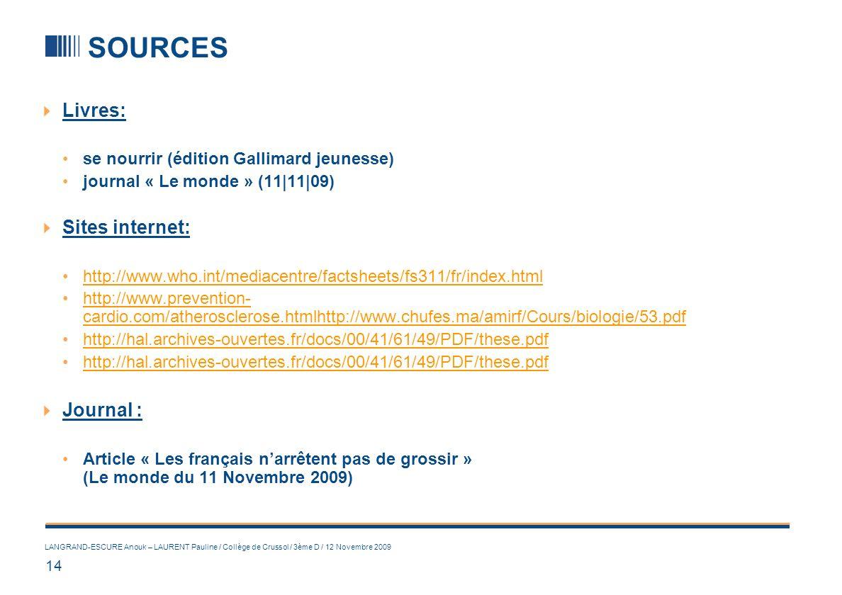 14 LANGRAND-ESCURE Anouk – LAURENT Pauline / Collège de Crussol / 3ème D / 12 Novembre 2009 SOURCES Livres: se nourrir (édition Gallimard jeunesse) jo