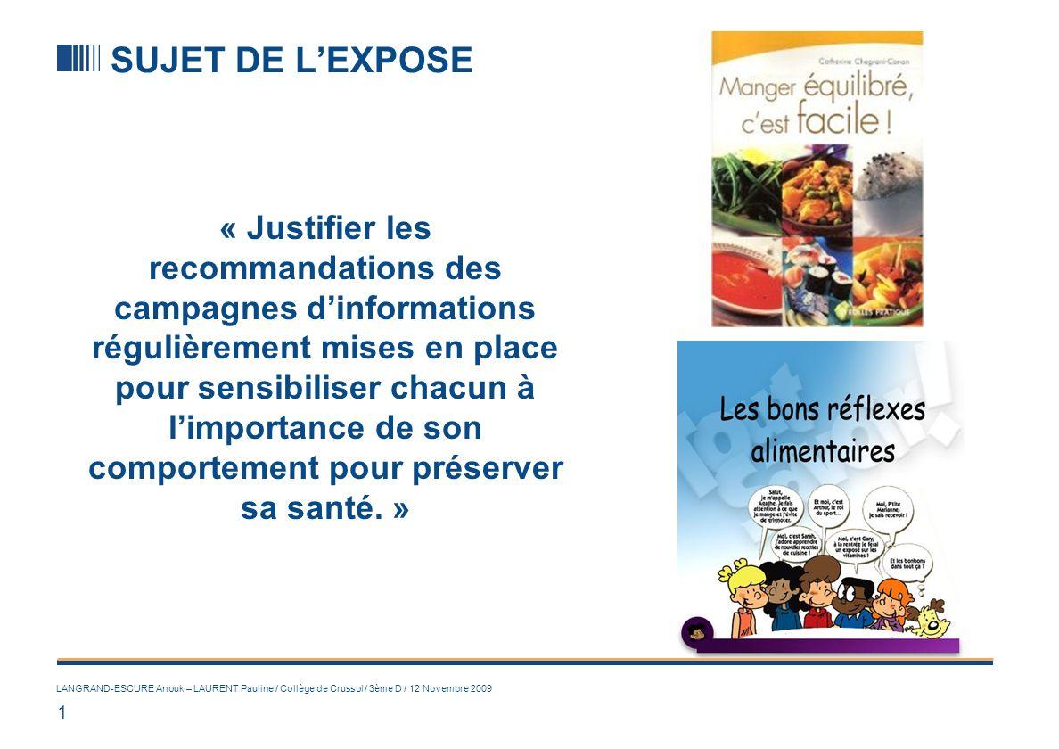 1 LANGRAND-ESCURE Anouk – LAURENT Pauline / Collège de Crussol / 3ème D / 12 Novembre 2009 SUJET DE LEXPOSE « Justifier les recommandations des campag