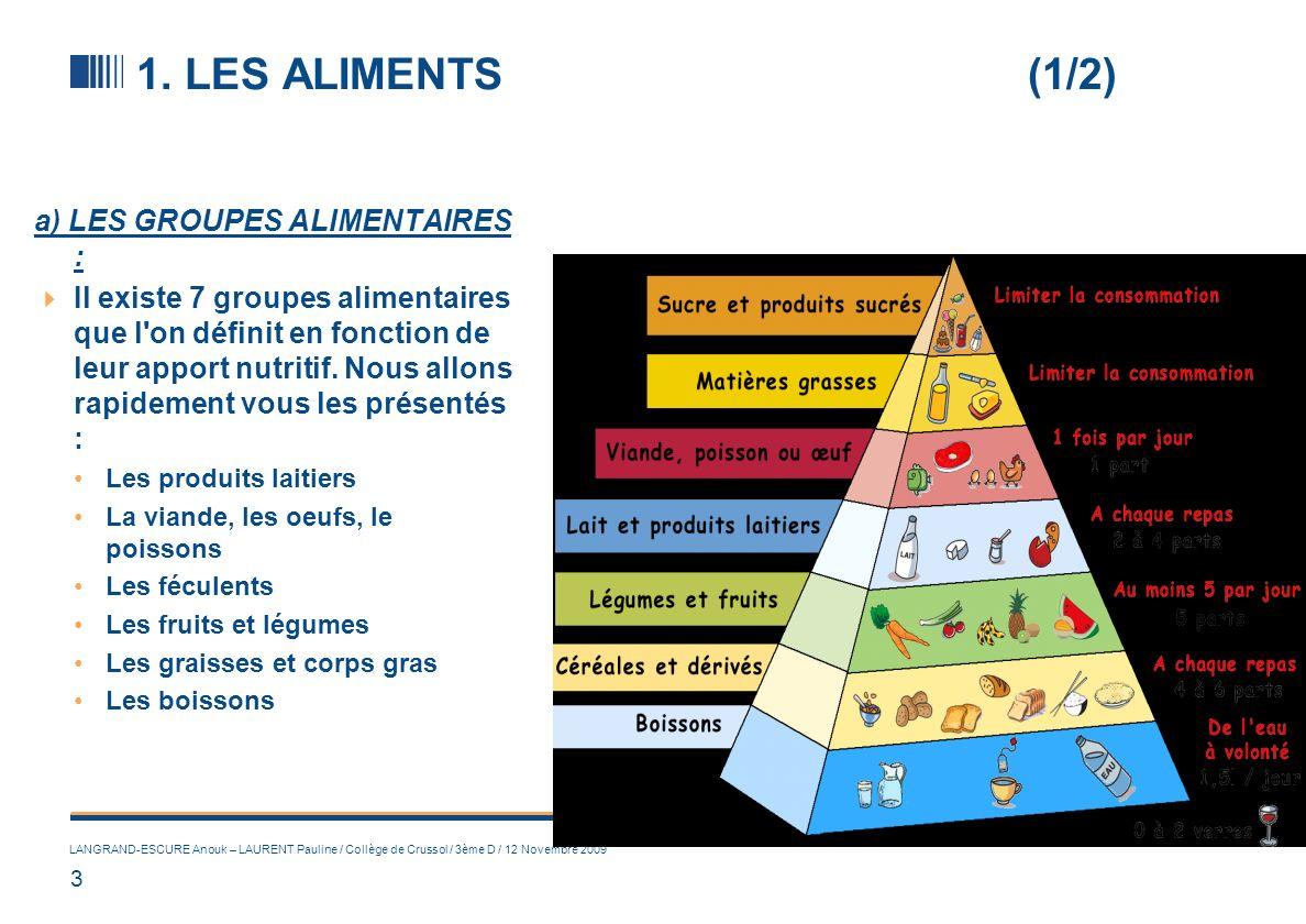 3 LANGRAND-ESCURE Anouk – LAURENT Pauline / Collège de Crussol / 3ème D / 12 Novembre 2009 1. LES ALIMENTS (1/2) a) LES GROUPES ALIMENTAIRES : Il exis