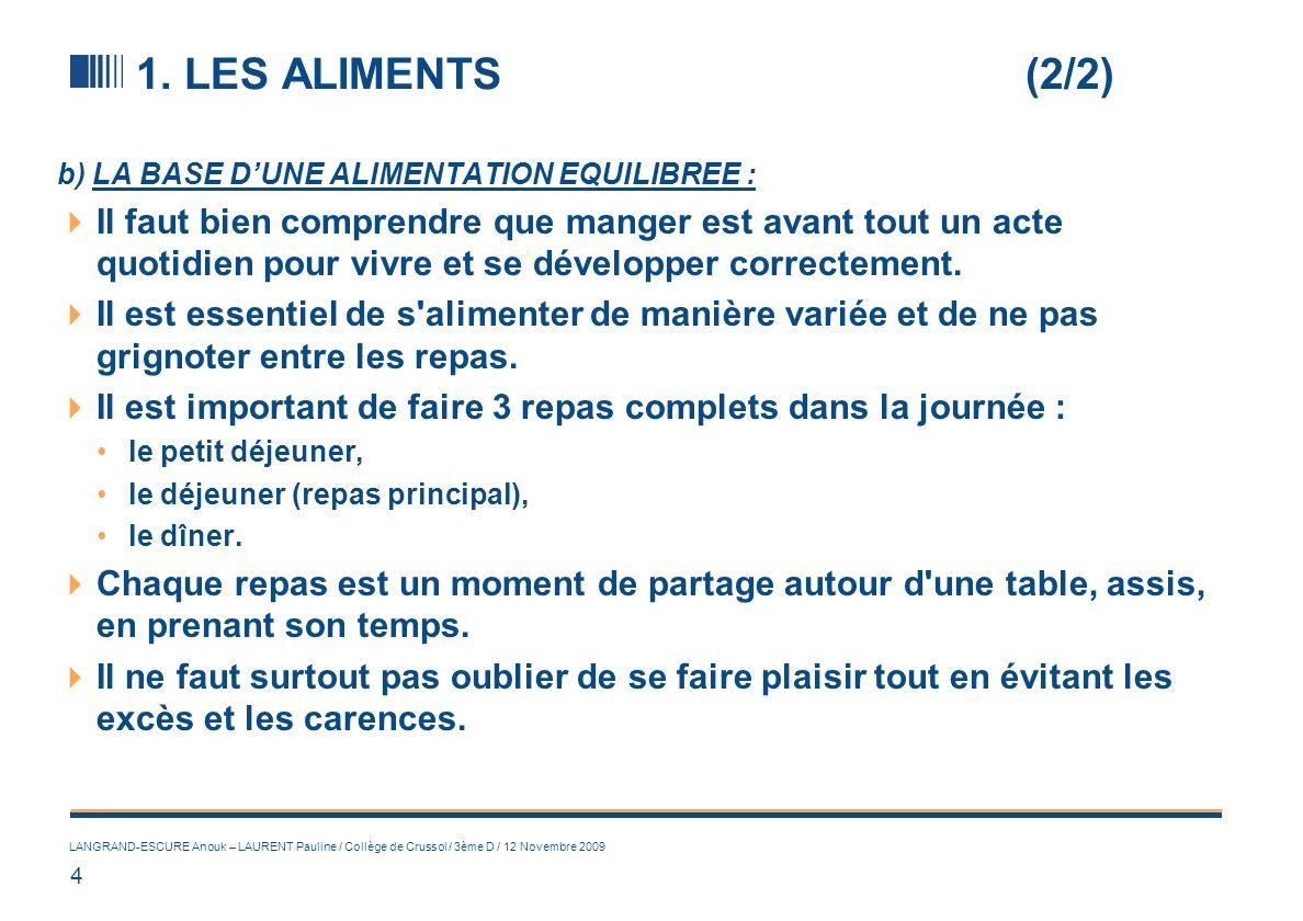 4 LANGRAND-ESCURE Anouk – LAURENT Pauline / Collège de Crussol / 3ème D / 12 Novembre 2009 1. LES ALIMENTS (2/2) b) LA BASE DUNE ALIMENTATION EQUILIBR