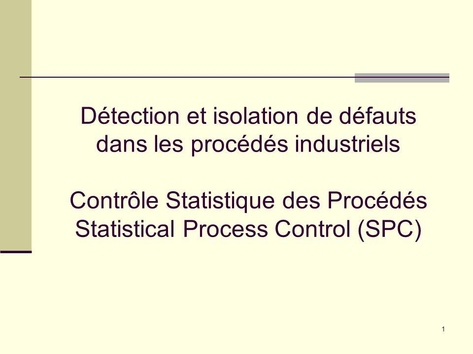 1 Détection et isolation de défauts dans les procédés industriels Contrôle Statistique des Procédés Statistical Process Control (SPC)