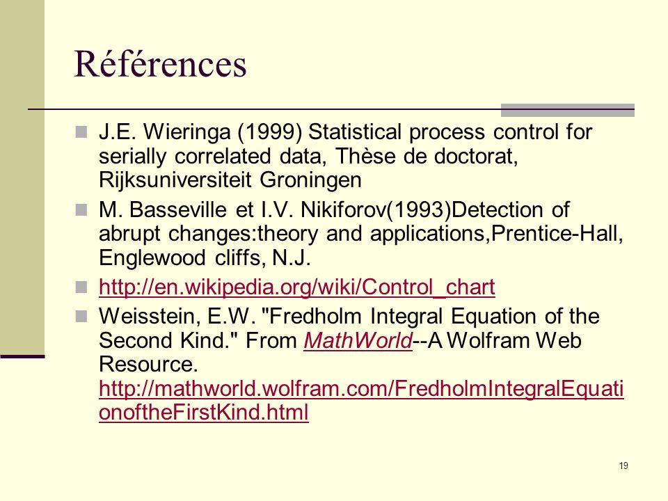 19 Références J.E. Wieringa (1999) Statistical process control for serially correlated data, Thèse de doctorat, Rijksuniversiteit Groningen M. Bassevi