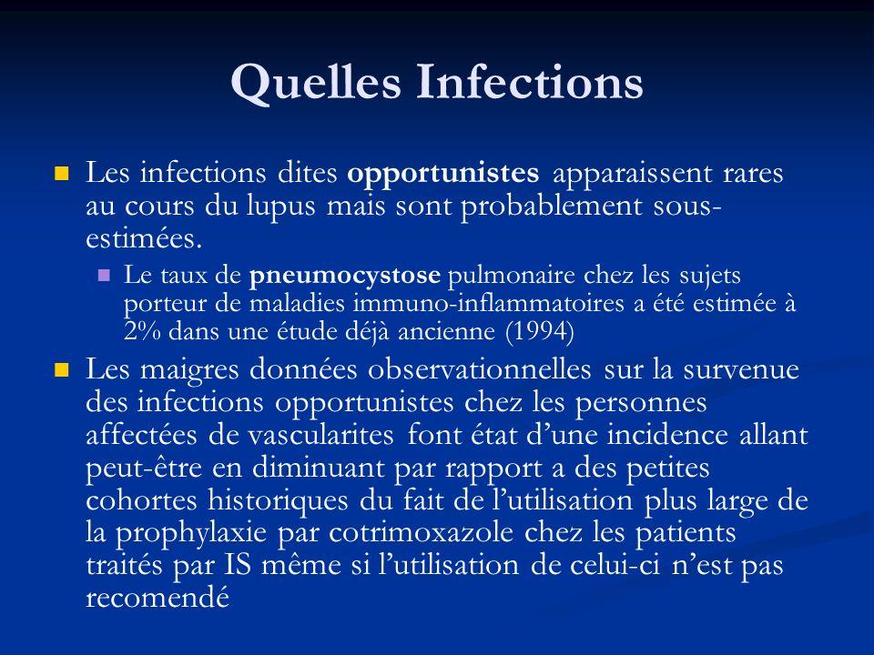 Quelles Infections Les infections dites opportunistes apparaissent rares au cours du lupus mais sont probablement sous- estimées. Le taux de pneumocys