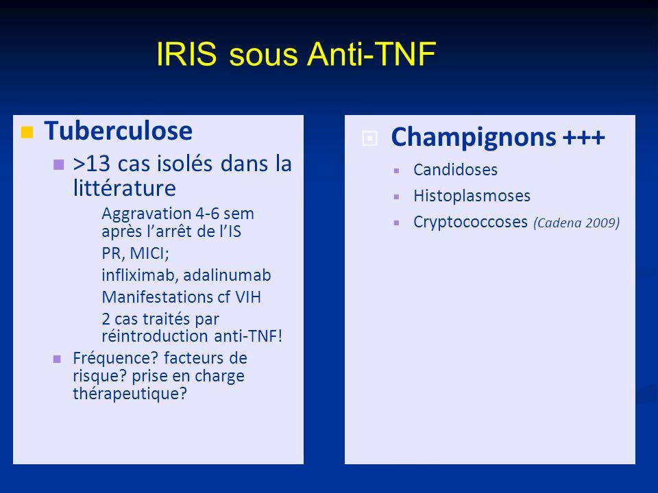 IRIS sous Anti-TNF Tuberculose >13 cas isolés dans la littérature Aggravation 4-6 sem après larrêt de lIS PR, MICI; infliximab, adalinumab Manifestations cf VIH 2 cas traités par réintroduction anti-TNF.