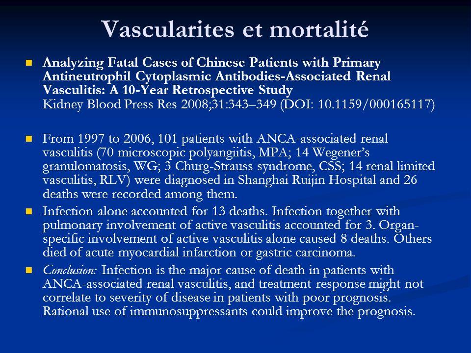Fcateurs de risque des infections Type de maladie (vascularite > LED?) Utilisation de corticoïdes et IS (dose.