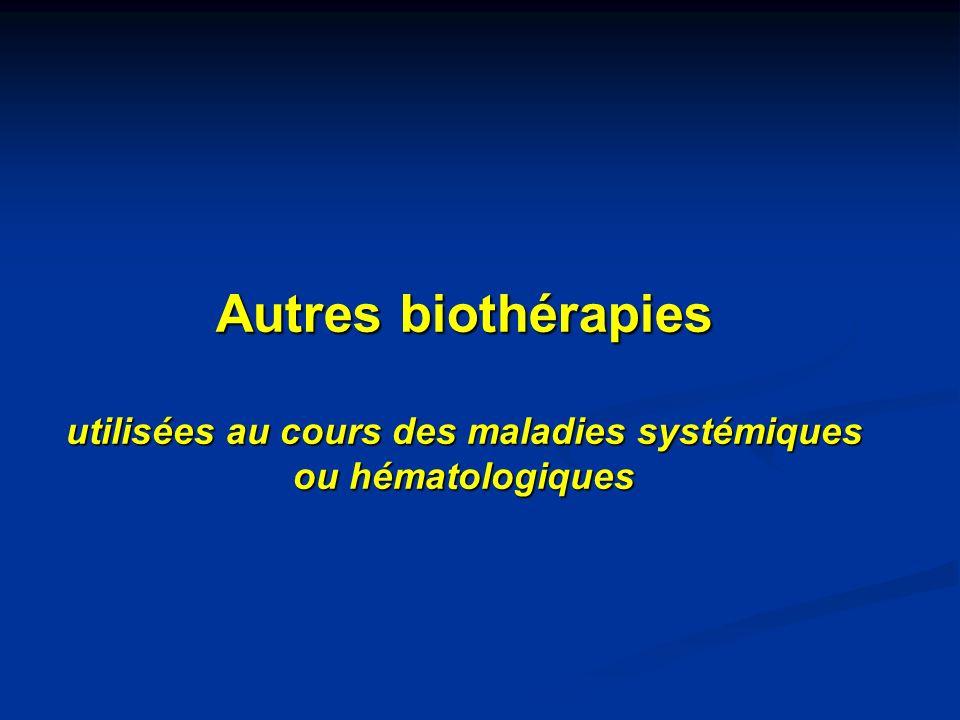 Autres biothérapies utilisées au cours des maladies systémiques ou hématologiques