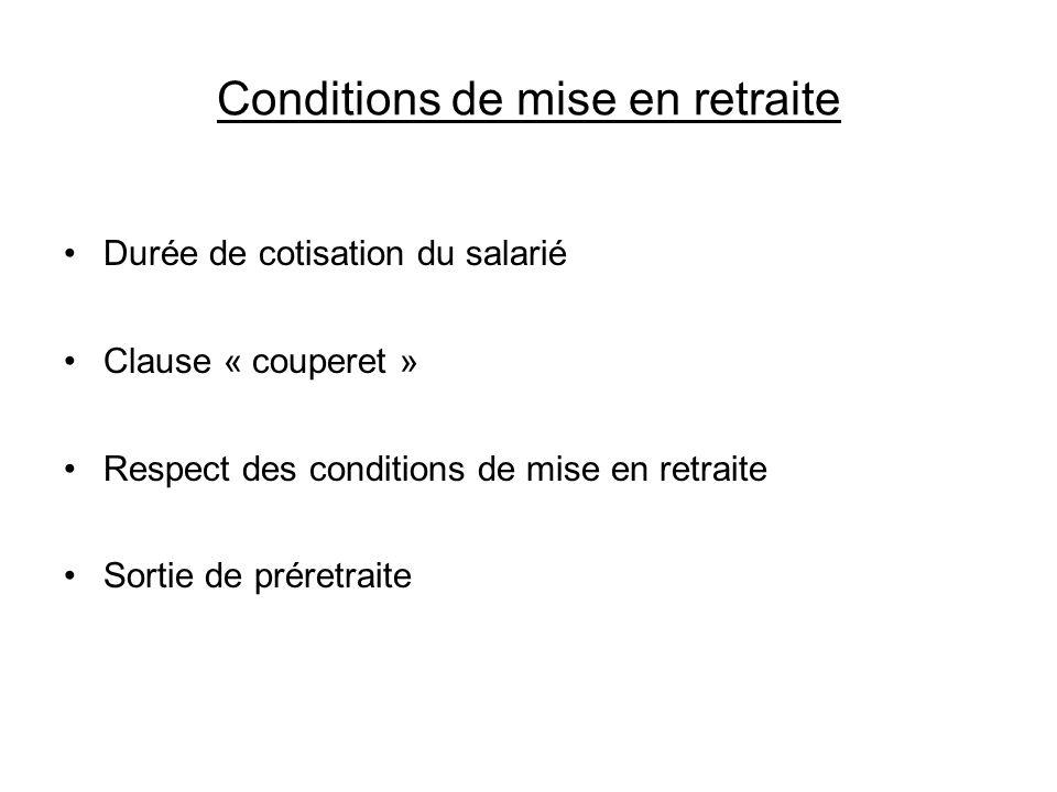 Conditions de mise en retraite Durée de cotisation du salarié Clause « couperet » Respect des conditions de mise en retraite Sortie de préretraite