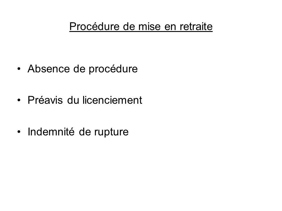 Procédure de mise en retraite Absence de procédure Préavis du licenciement Indemnité de rupture