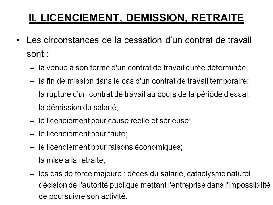 II.1.Le licenciement pour cause réelle et sérieuse, faute grave, faute lourde II.1.1.