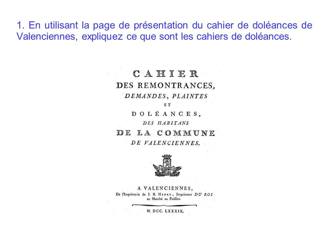 1. En utilisant la page de présentation du cahier de doléances de Valenciennes, expliquez ce que sont les cahiers de doléances.