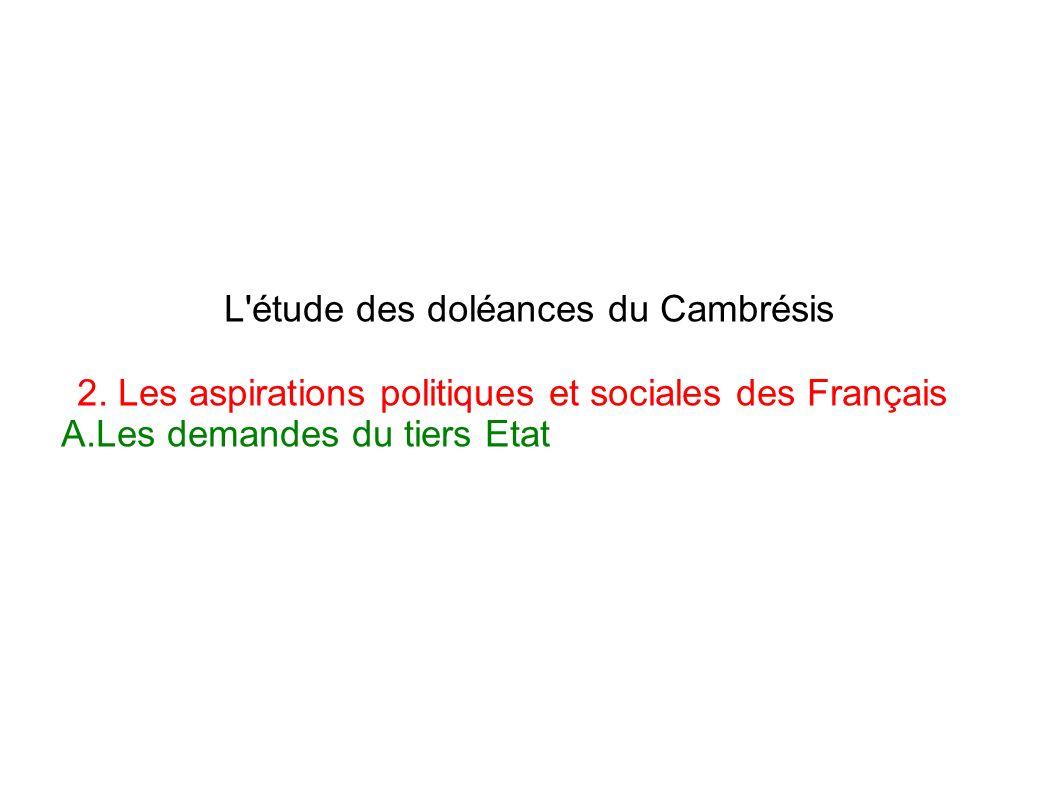 L'étude des doléances du Cambrésis 2. Les aspirations politiques et sociales des Français A.Les demandes du tiers Etat