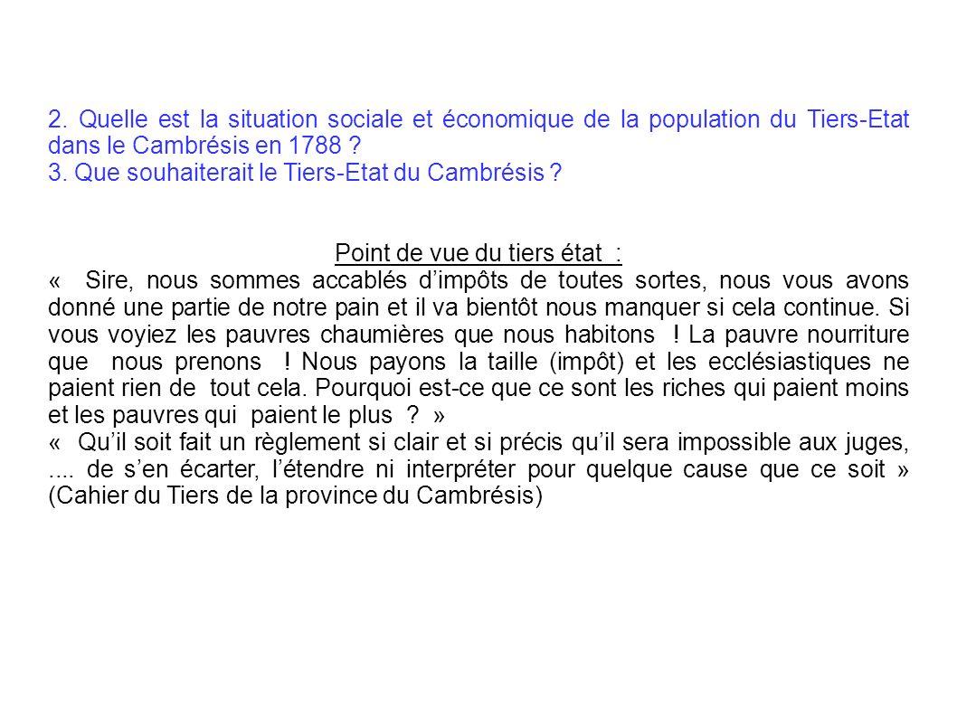 2. Quelle est la situation sociale et économique de la population du Tiers-Etat dans le Cambrésis en 1788 ? 3. Que souhaiterait le Tiers-Etat du Cambr