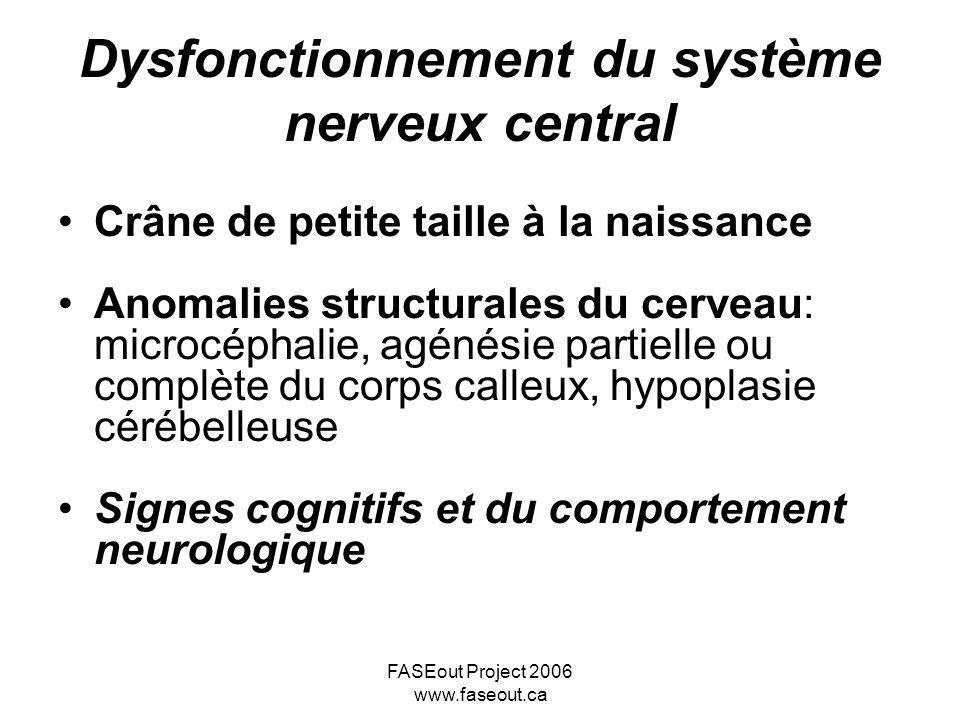 FASEout Project 2006 www.faseout.ca Dysfonctionnement du système nerveux central Crâne de petite taille à la naissance Anomalies structurales du cerve