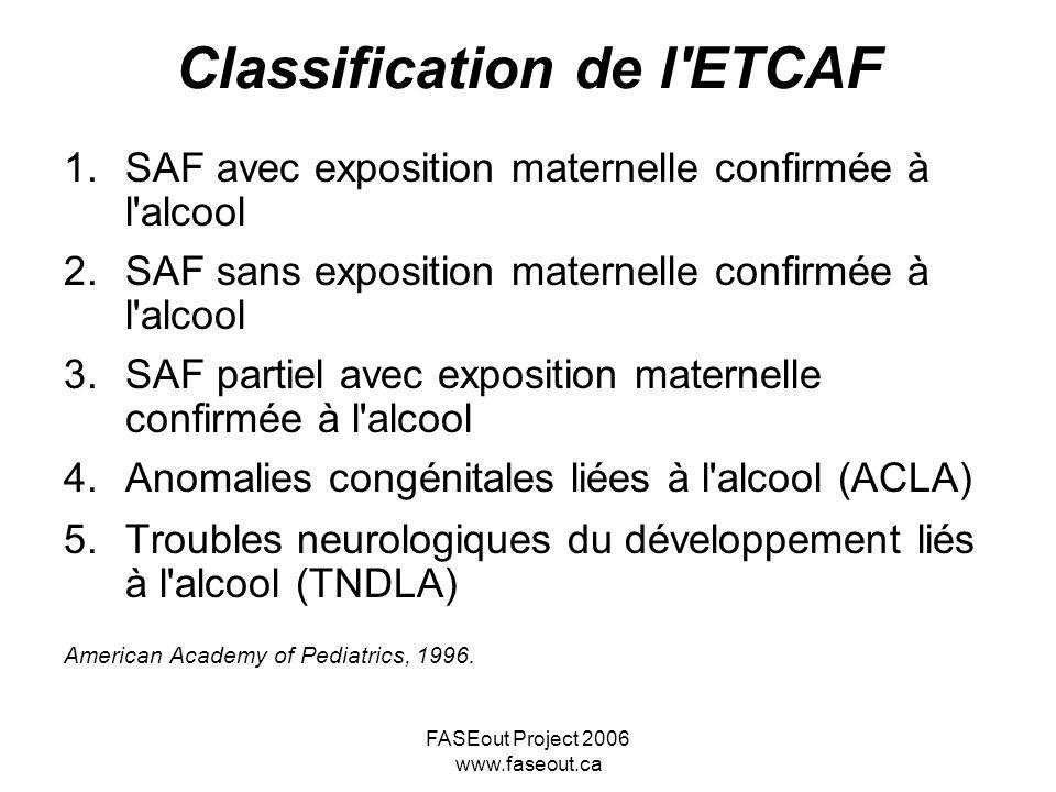 FASEout Project 2006 www.faseout.ca Classification de l'ETCAF 1.SAF avec exposition maternelle confirmée à l'alcool 2.SAF sans exposition maternelle c