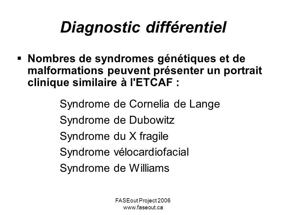 FASEout Project 2006 www.faseout.ca Diagnostic différentiel Nombres de syndromes génétiques et de malformations peuvent présenter un portrait clinique