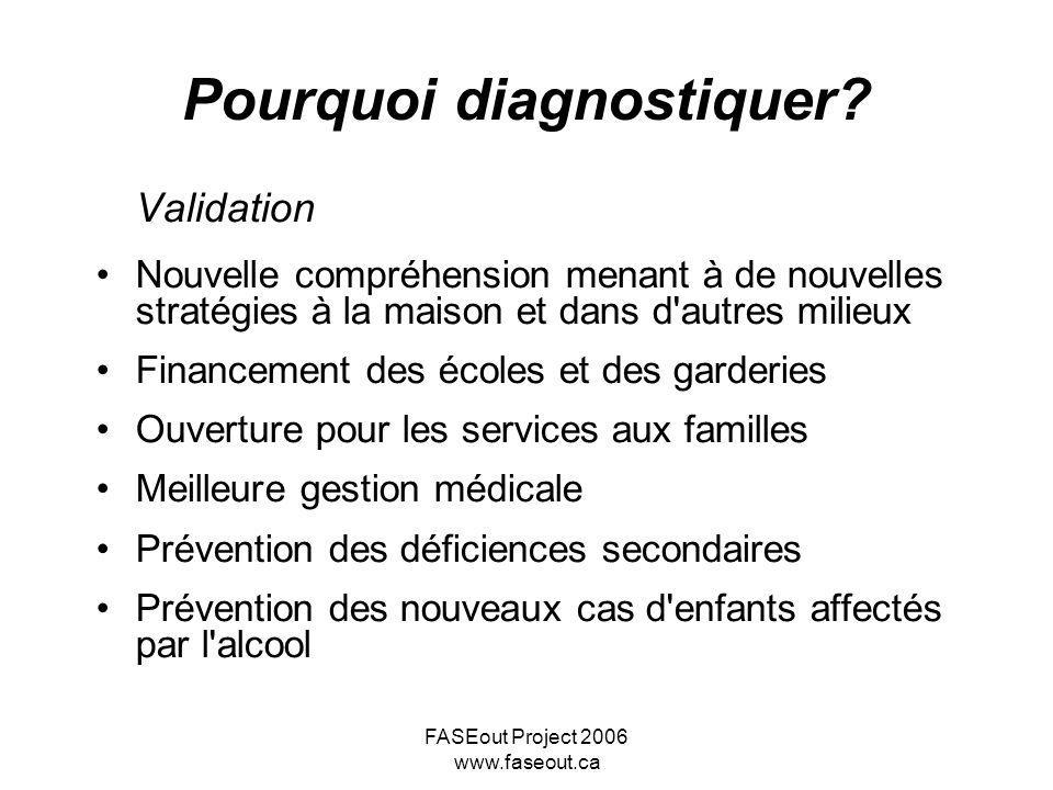 FASEout Project 2006 www.faseout.ca Pourquoi diagnostiquer? Validation Nouvelle compréhension menant à de nouvelles stratégies à la maison et dans d'a