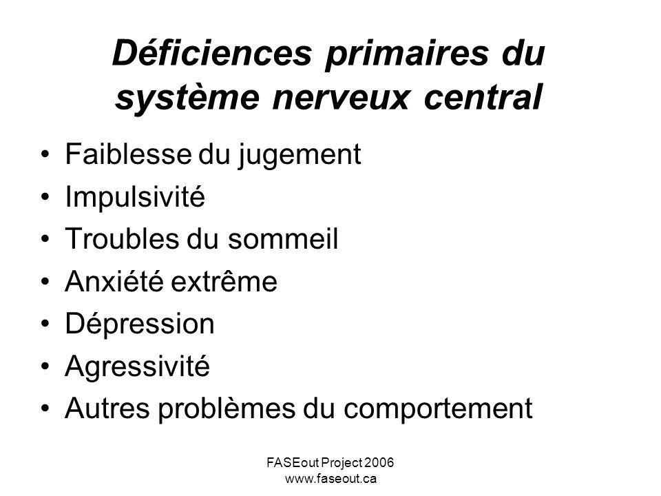 FASEout Project 2006 www.faseout.ca Déficiences primaires du système nerveux central Faiblesse du jugement Impulsivité Troubles du sommeil Anxiété ext