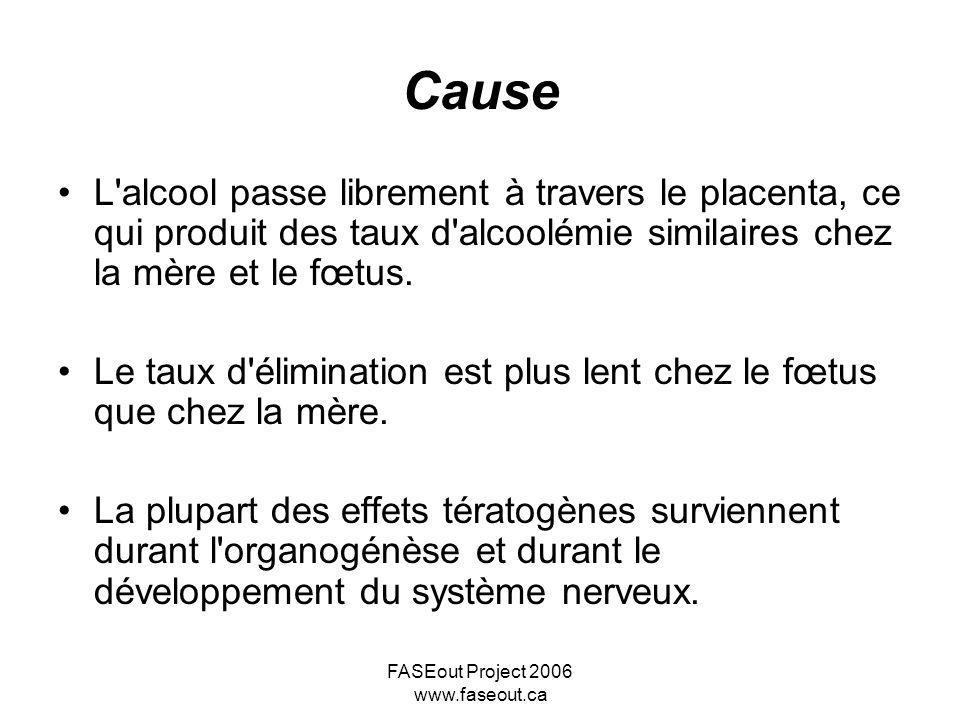FASEout Project 2006 www.faseout.ca Cause L'alcool passe librement à travers le placenta, ce qui produit des taux d'alcoolémie similaires chez la mère
