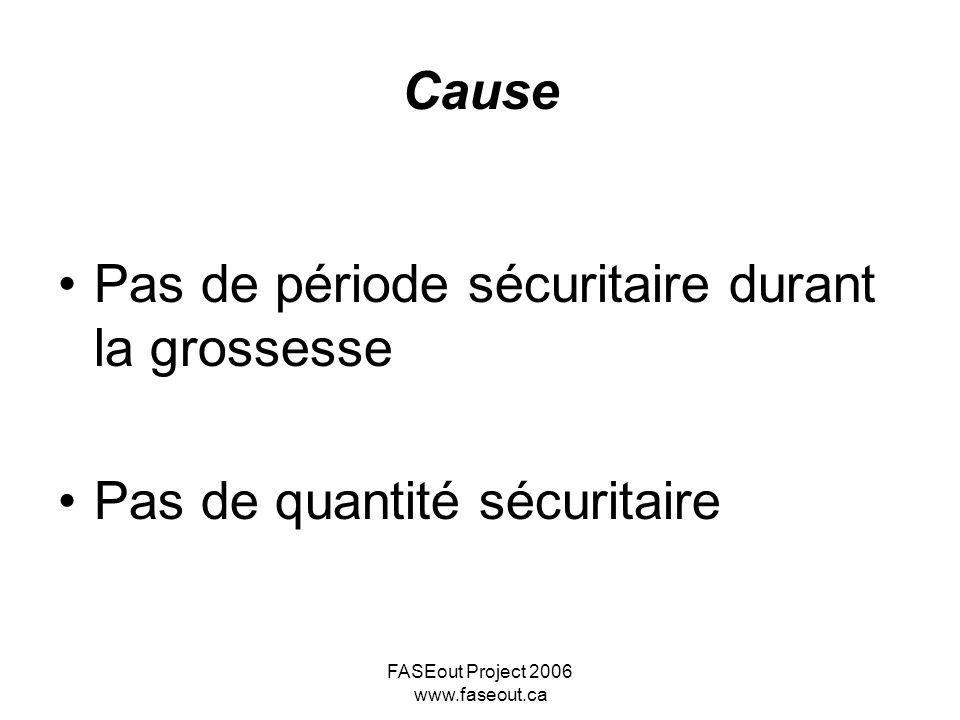 FASEout Project 2006 www.faseout.ca Ensemble des troubles causés par l alcoolisation fœtale: une définition Anomalies faciales Retard de croissance Dysfonctionnement du SNC