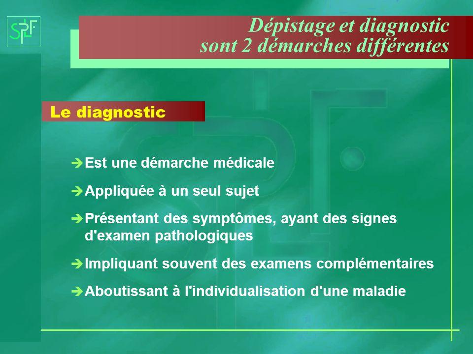 Dépistage et diagnostic sont 2 démarches différentes Le diagnostic è Est une démarche médicale è Appliquée à un seul sujet è Présentant des symptômes,