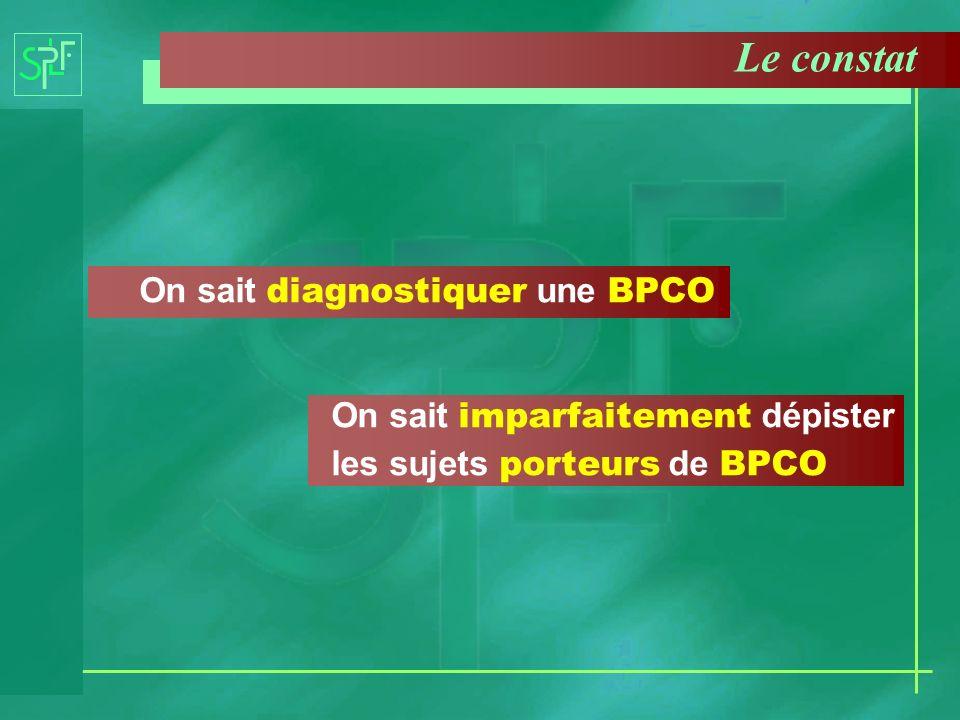 Le constat On sait diagnostiquer une BPCO On sait imparfaitement dépister les sujets porteurs de BPCO