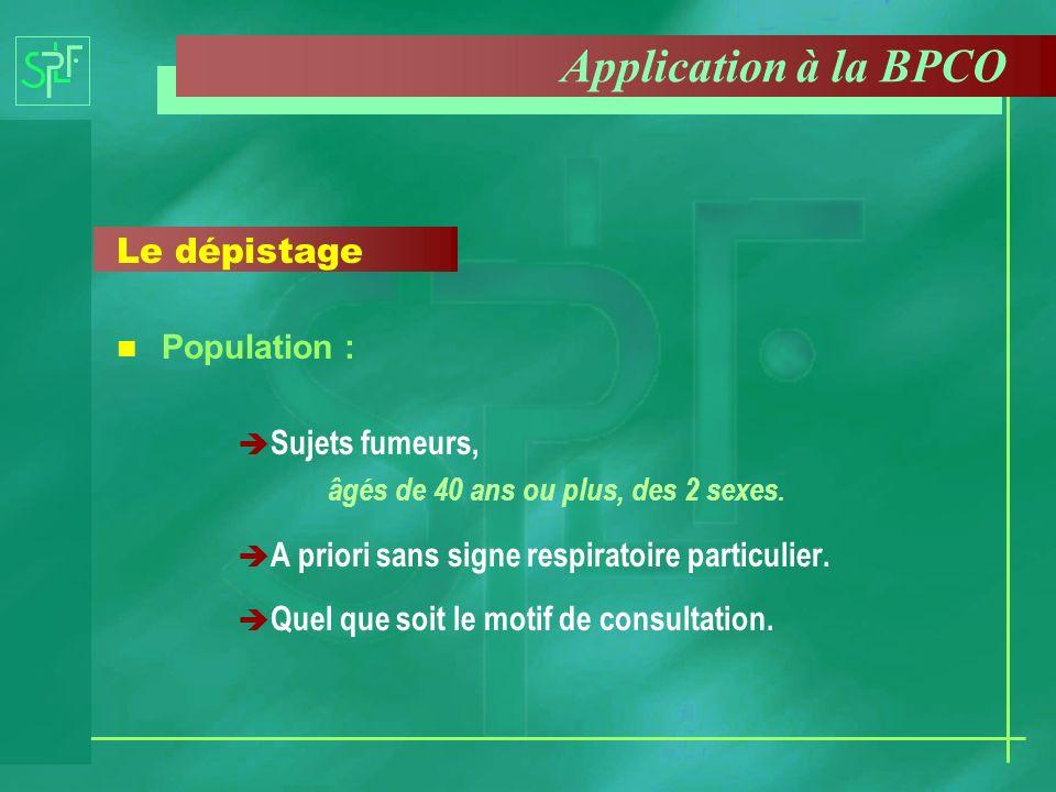 Application à la BPCO Le dépistage Population : Sujets fumeurs, âgés de 40 ans ou plus, des 2 sexes. è A priori sans signe respiratoire particulier. è