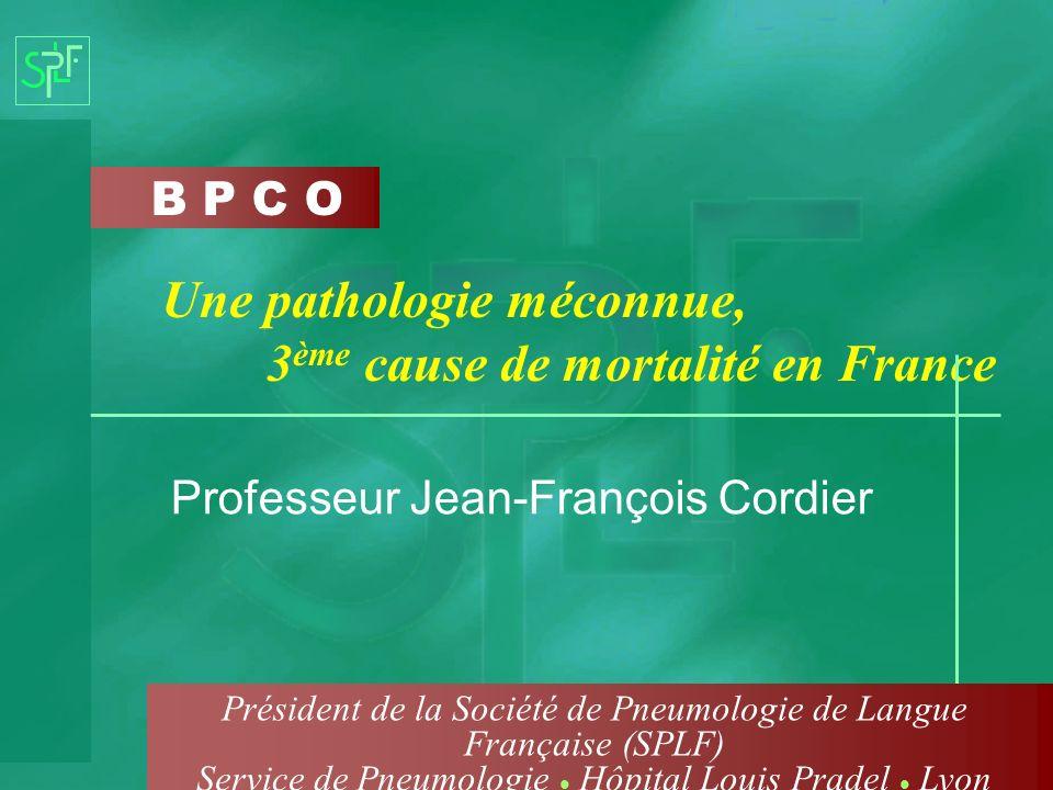 B P C O Une pathologie méconnue, 3 ème cause de mortalité en France Professeur Jean-François Cordier Président de la Société de Pneumologie de Langue