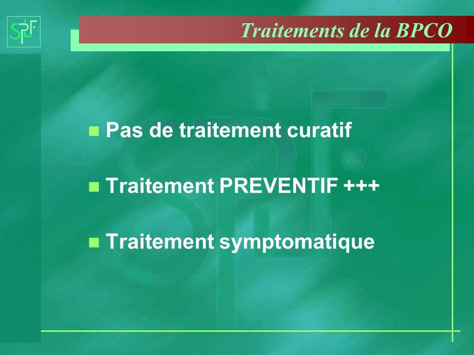 Traitements de la BPCO n Pas de traitement curatif n Traitement PREVENTIF +++ n Traitement symptomatique
