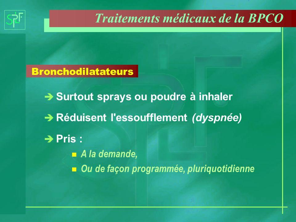 Bronchodilatateurs è Surtout sprays ou poudre à inhaler è Réduisent l'essoufflement (dyspnée) è Pris : n A la demande, n Ou de façon programmée, pluri