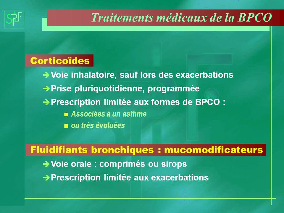 Corticoïdes è Voie inhalatoire, sauf lors des exacerbations è Prise pluriquotidienne, programmée è Prescription limitée aux formes de BPCO : n Associé