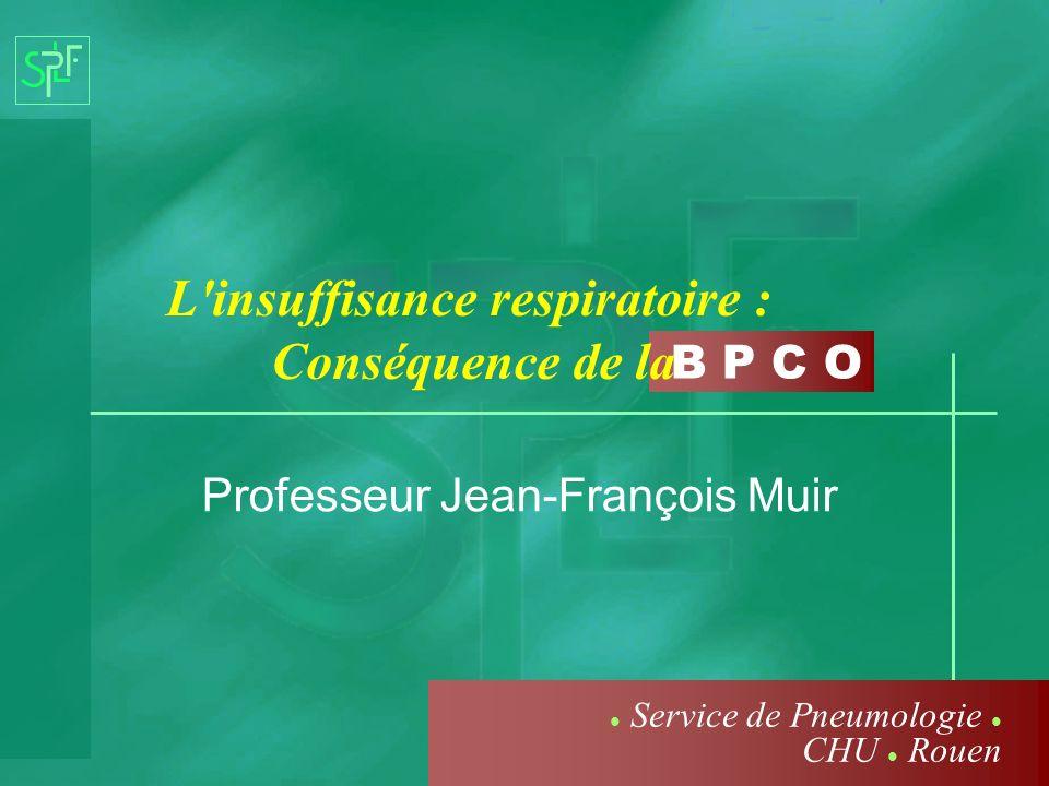 B P C O L'insuffisance respiratoire : Conséquence de la Professeur Jean-François Muir Service de Pneumologie CHU Rouen