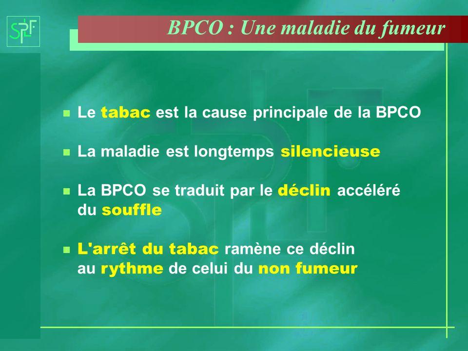 Le tabac est la cause principale de la BPCO La maladie est longtemps silencieuse La BPCO se traduit par le déclin accéléré du souffle L'arrêt du tabac