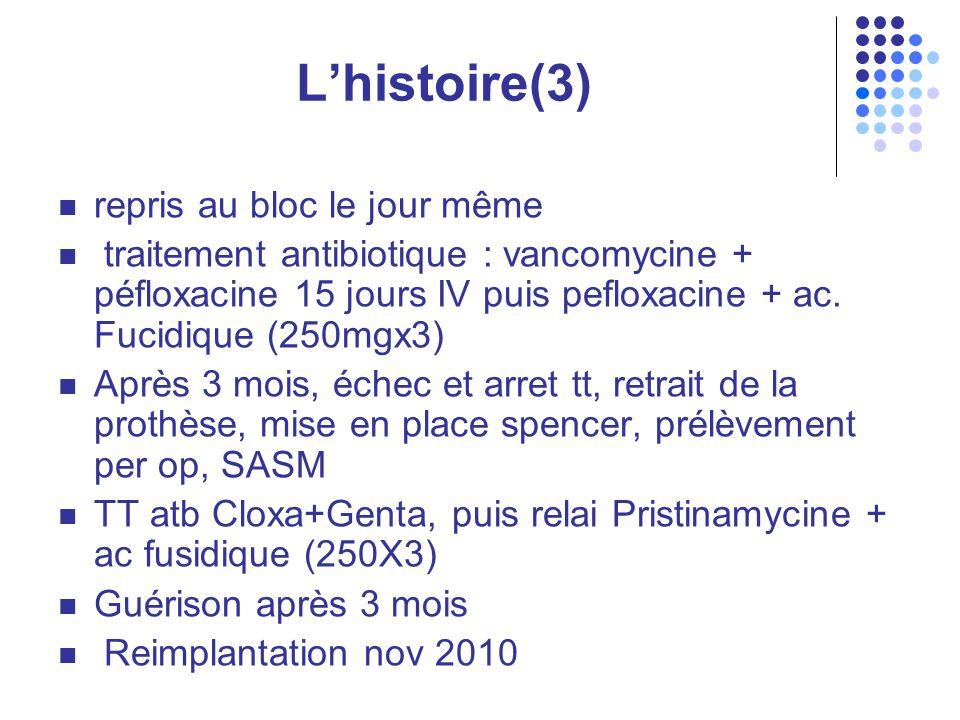 Lhistoire(3) repris au bloc le jour même traitement antibiotique : vancomycine + péfloxacine 15 jours IV puis pefloxacine + ac.