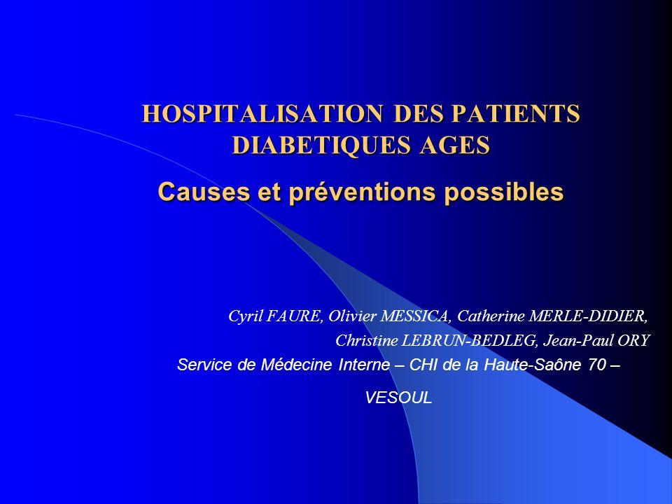 - Pourquoi les patients diabétiques âgés sont-il hospitalisés .