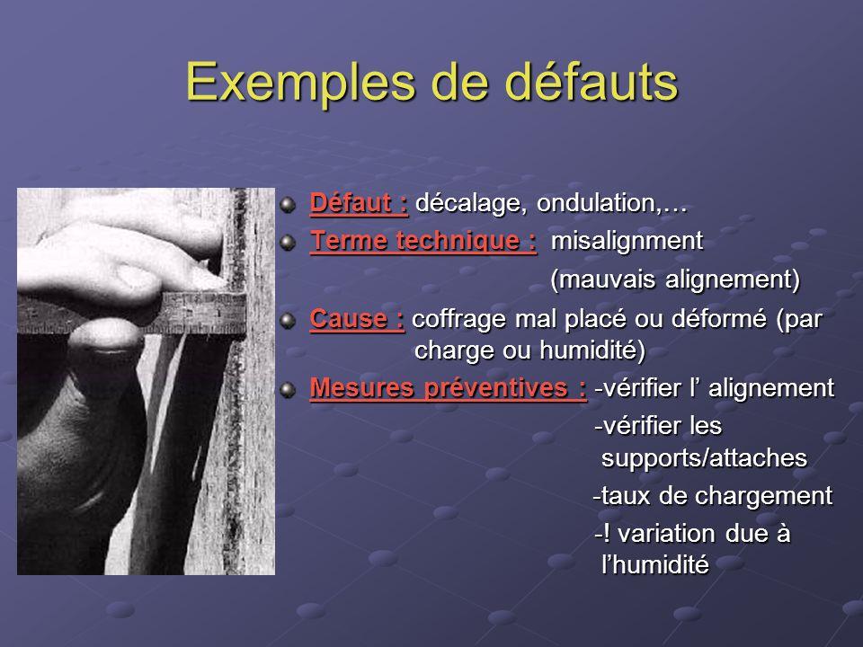 Exemples de défauts Défaut : décalage, ondulation,… Terme technique : misalignment (mauvais alignement) Cause : coffrage mal placé ou déformé (par cha