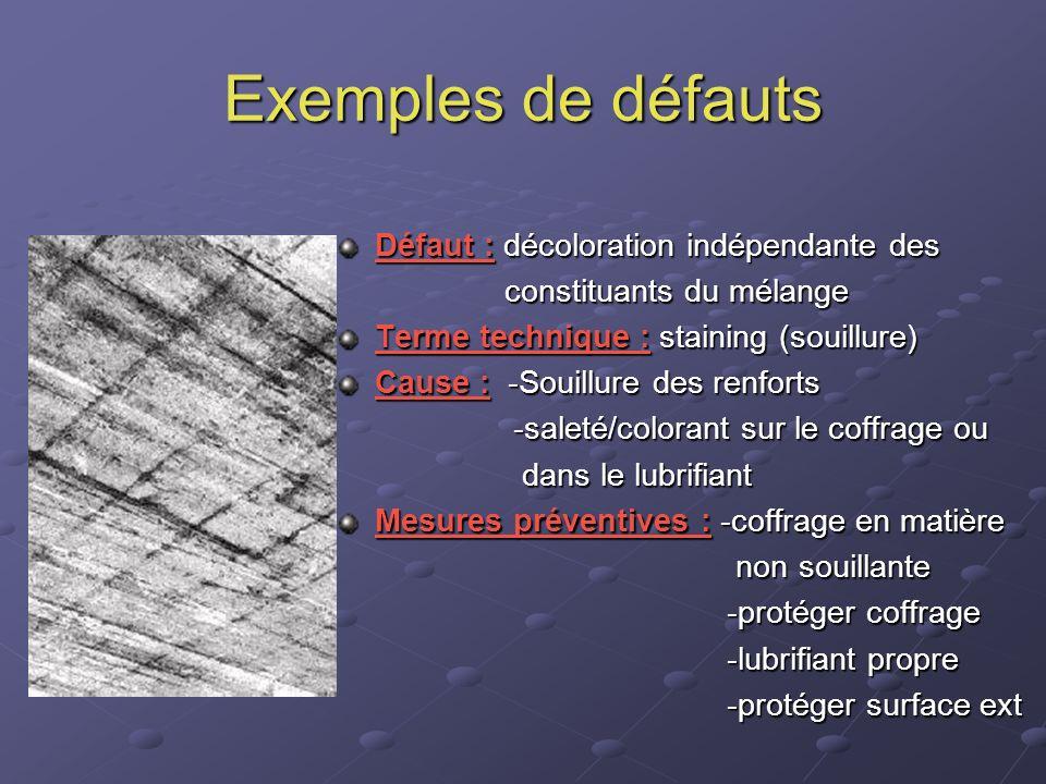 Exemples de défauts Défaut : décoloration indépendante des constituants du mélange constituants du mélange Terme technique : staining (souillure) Caus
