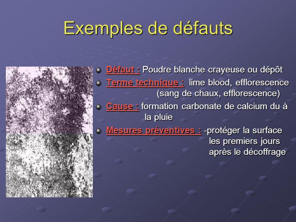 Exemples de défauts Défaut : Poudre blanche crayeuse ou dépôt Terme technique : lime blood, efflorescence (sang de chaux, efflorescence) Cause : forma