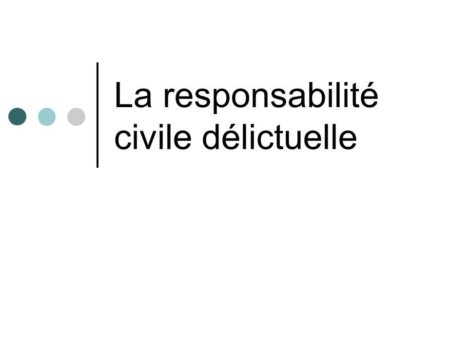 LA RESPONSABILITE CIVILE DELICTUELLE Obligation de réparer un dommage subi par une personne juridique ou par la société La vie en société nécessite
