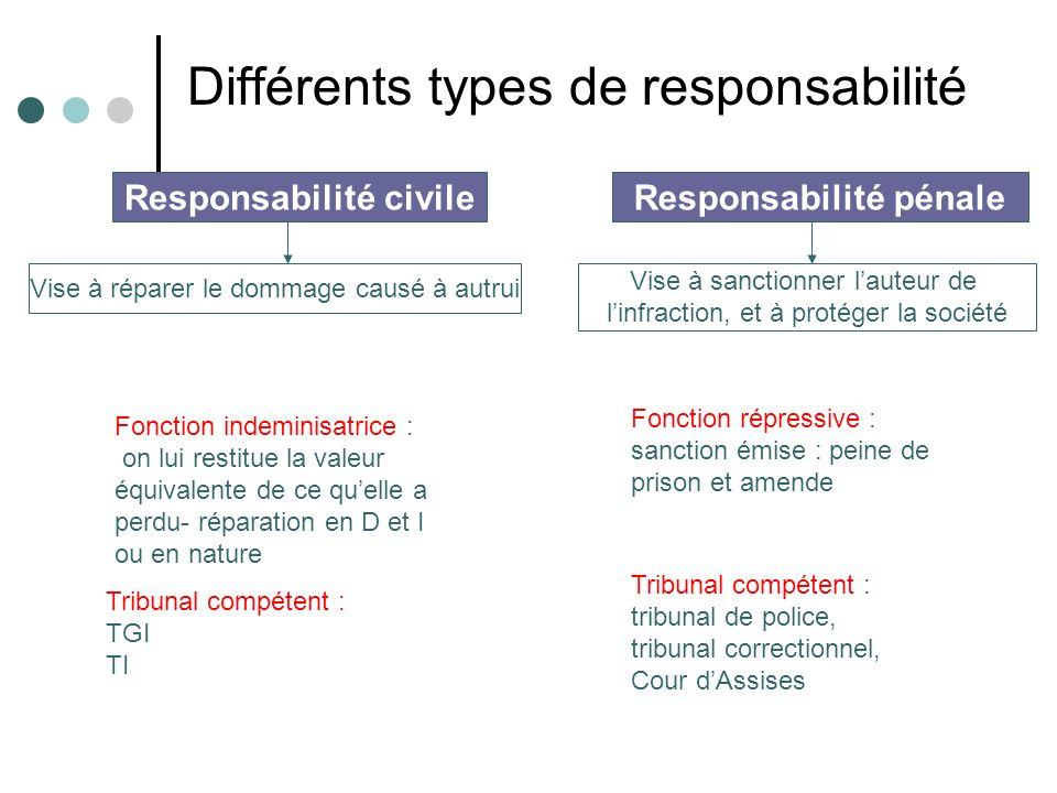 Responsabilité civile Vise à réparer le dommage causé à autrui Responsabilité pénale Vise à sanctionner lauteur de linfraction, et à protéger la socié