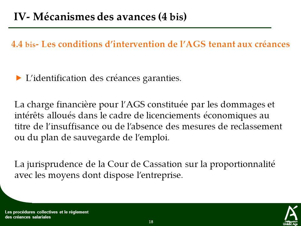 18 Les procédures collectives et le règlement des créances salariales IV- Mécanismes des avances (4 bis ) 4.4 bis -Les conditions dintervention de lAGS tenant aux créances Lidentification des créances garanties.