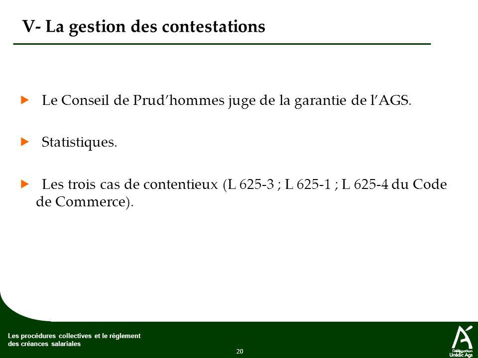 20 Les procédures collectives et le règlement des créances salariales V- La gestion des contestations Le Conseil de Prudhommes juge de la garantie de lAGS.