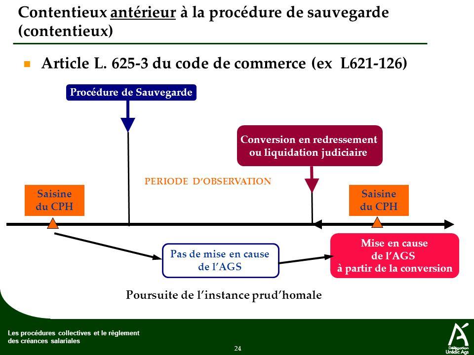 24 Les procédures collectives et le règlement des créances salariales Contentieux antérieur à la procédure de sauvegarde (contentieux) Article L.