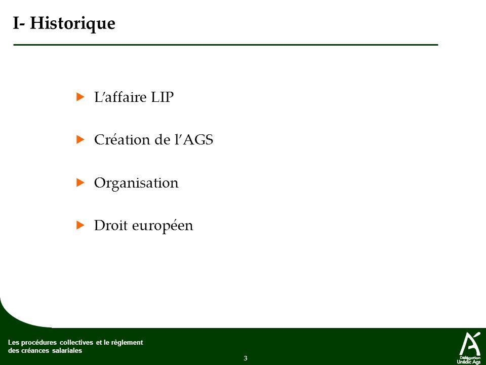 3 Les procédures collectives et le règlement des créances salariales I- Historique Laffaire LIP Création de lAGS Organisation Droit européen