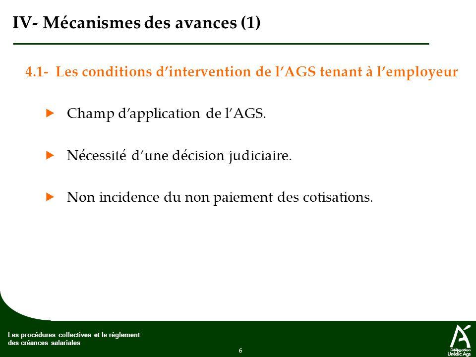 6 Les procédures collectives et le règlement des créances salariales IV- Mécanismes des avances (1) 4.1- Les conditions dintervention de lAGS tenant à lemployeur Champ dapplication de lAGS.