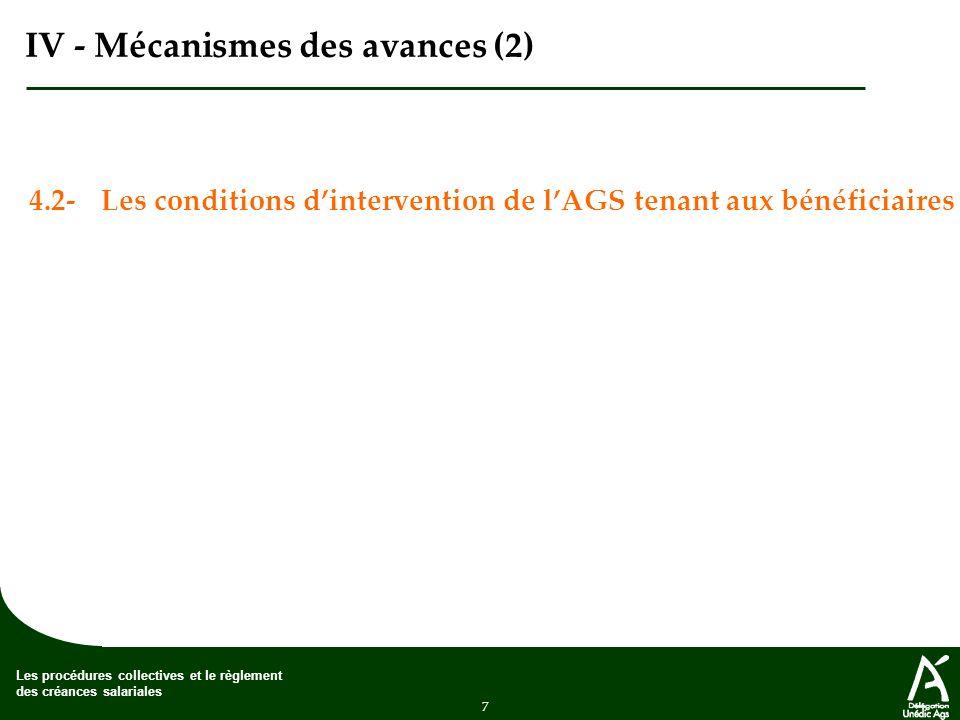 7 Les procédures collectives et le règlement des créances salariales IV - Mécanismes des avances (2) 4.2-Les conditions dintervention de lAGS tenant aux bénéficiaires