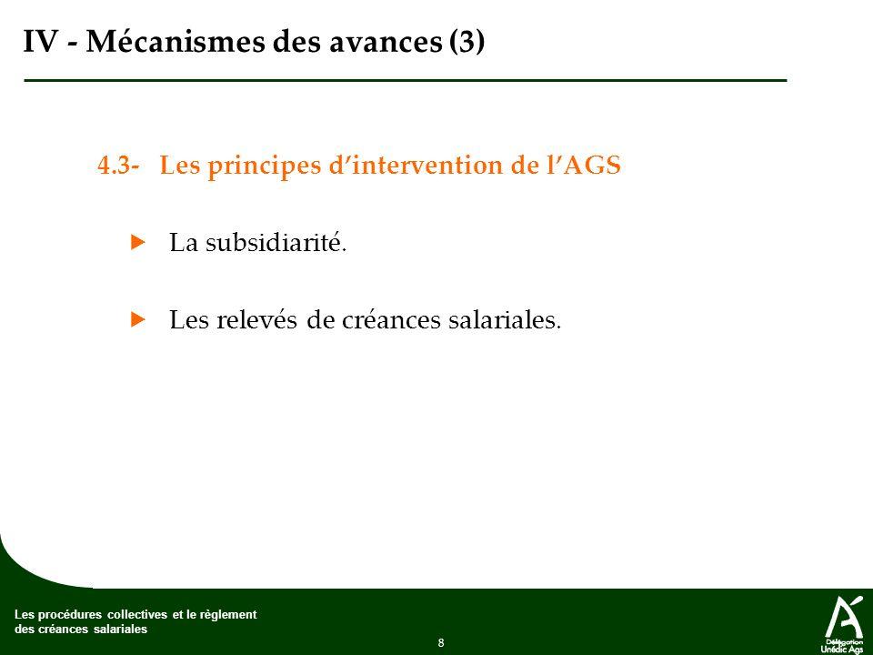 8 Les procédures collectives et le règlement des créances salariales IV - Mécanismes des avances (3) 4.3- Les principes dintervention de lAGS La subsidiarité.