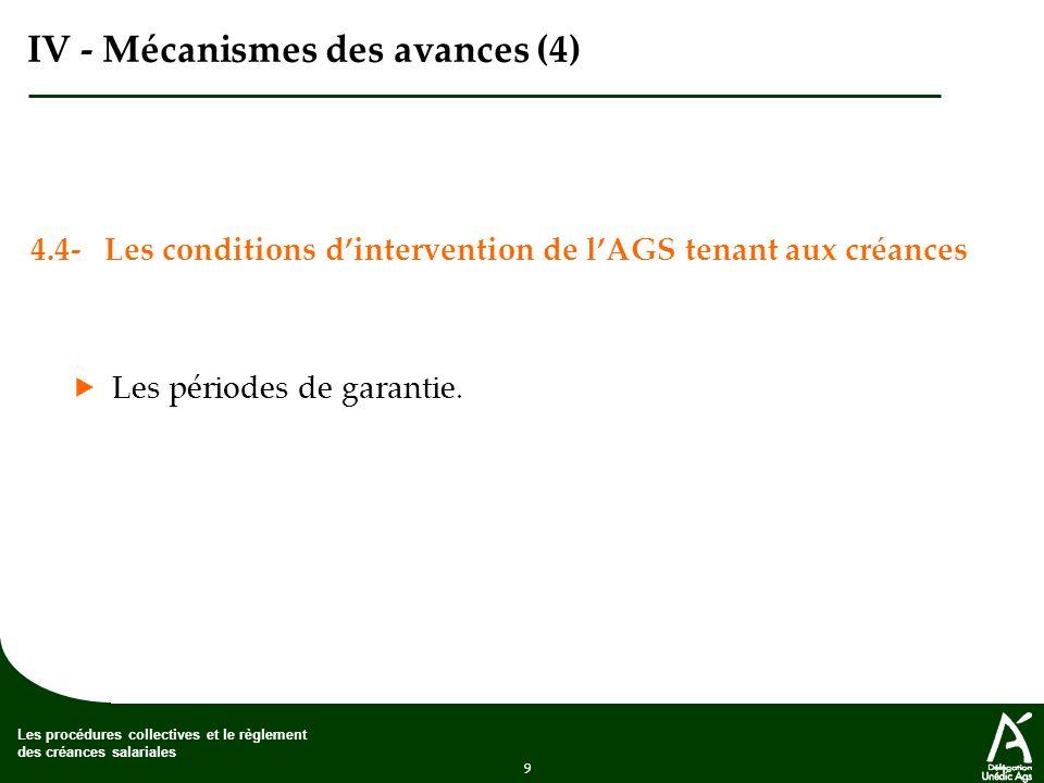 9 Les procédures collectives et le règlement des créances salariales IV - Mécanismes des avances (4) 4.4- Les conditions dintervention de lAGS tenant aux créances Les périodes de garantie.